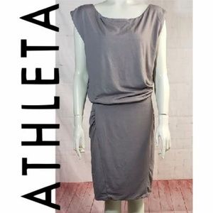 Athleta Dresses - ATHLETA MICRO STRIPE GREY WESTWOOD DRESS LARGE